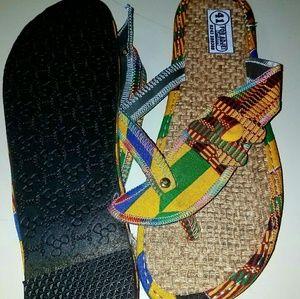 African print kente sandals